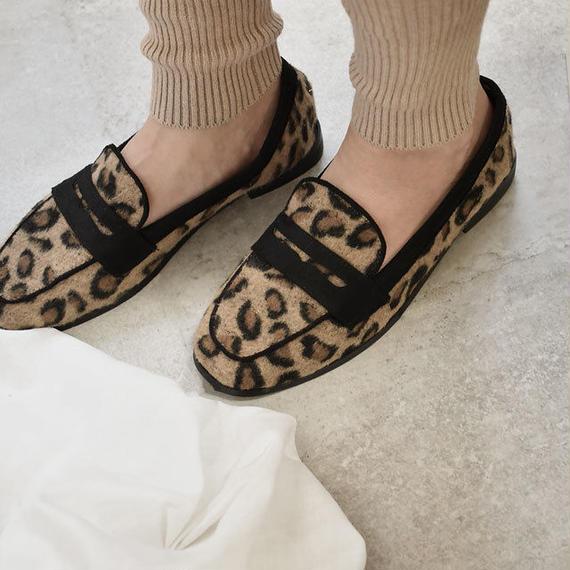 shoes-02040  ヒョウ柄 レオパード柄 フェルト ローファー