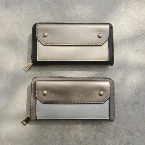 wallet-02054 メタリック バイカラーデザイン 長財布 小銭入れ付き ウォレット