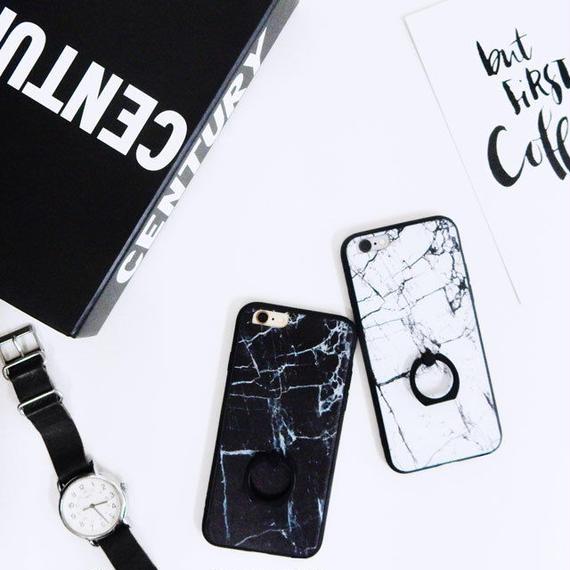 iphone-02228  送料無料! タイプ2  ブラックバンパー&バンカーリング付き 大理石 天然石  iPhoneケース