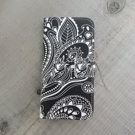 iphone-02205 送料無料! 手帳型 ペイズリー柄 カード収納付き iPhoneケース iPhone6ケース