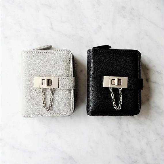 wallet-02033 ヒネリ金具&チェーンデザイン ミニ財布 小銭入れ付き 二つ折り ミニウォレット