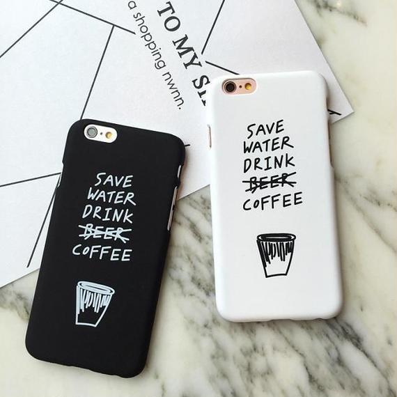 iphone-02240 送料無料! SAVE WATER DRINK COFFEE ブラック ホワイト iPhoneケース