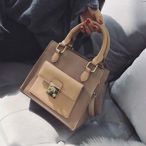 bag2-02283 アウトポケットデザイン 2wayショルダー付き ハンドバッグ