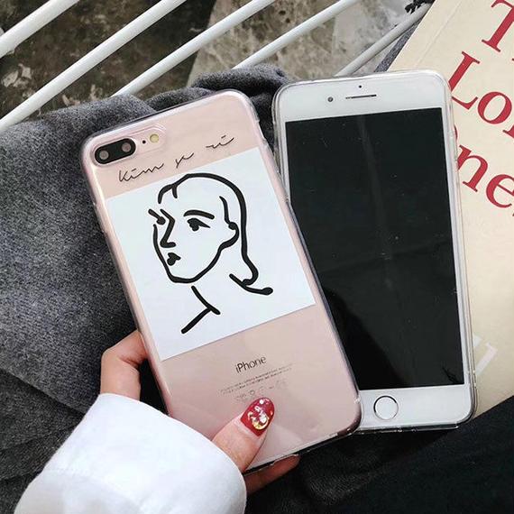 iphone-02488 送料無料!クリアケース フェイスモチーフ モダンアート 人物 iPhoneケース