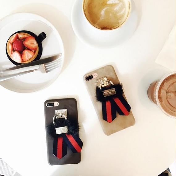 iphone-02387 送料無料! ファー×リボン iPhoneケース