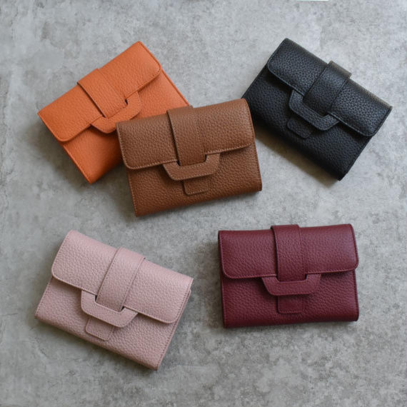 wallet-02072 本革レザー ベルトデザイン 三つ折り財布 小銭入れ付き