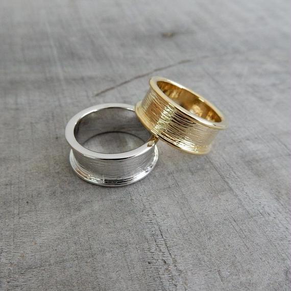 ring-02128 送料無料! タイプ2 フォールドラインリング 13号 シルバー・ゴールド サイズ調整不可