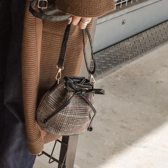 bag2-02402 グレンチェック 巾着バッグ