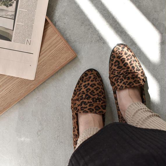 shoes-02037  ヒョウ柄 レオパード柄 フェイクスエード ローファー