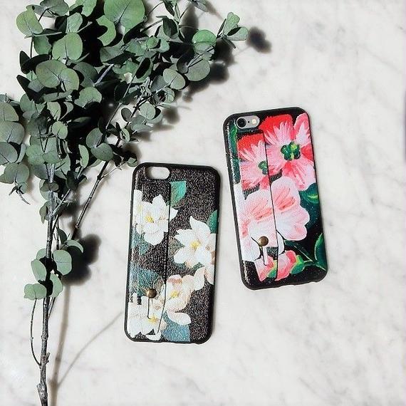 iphone-02327  送料無料! ベルト付き お花柄 フラワー柄 落下防止 iPhoneケース