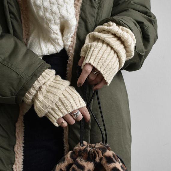 gloves-02003 送料無料! ロングタイプ ワイドリブタイプ リブアームウォーマー オフホワイト ベージュ ココアブラウン グレー ブラック