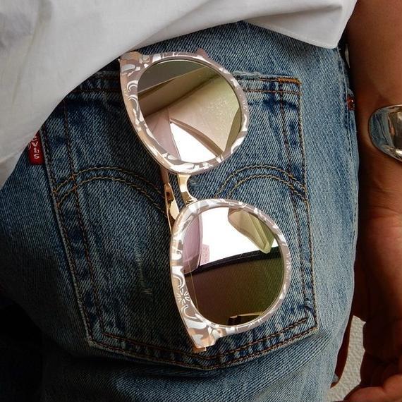 sunglasses-02023 ピンクデザイン イエローミラーサングラス