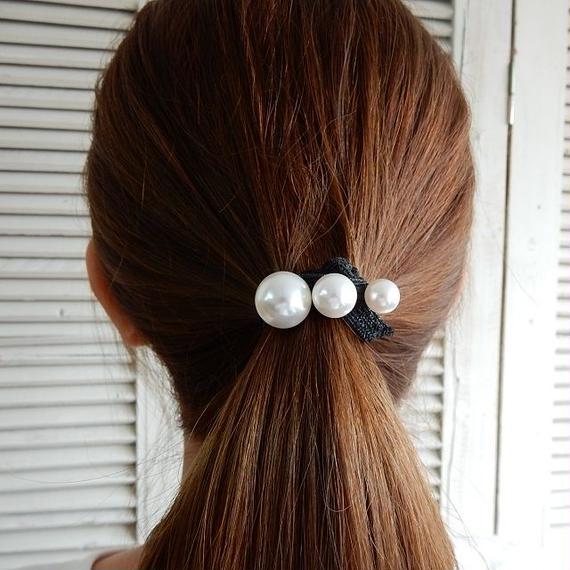 hair-02116 送料無料! グラデーション3個パールヘアゴム ヘアポニー ブレスとしても