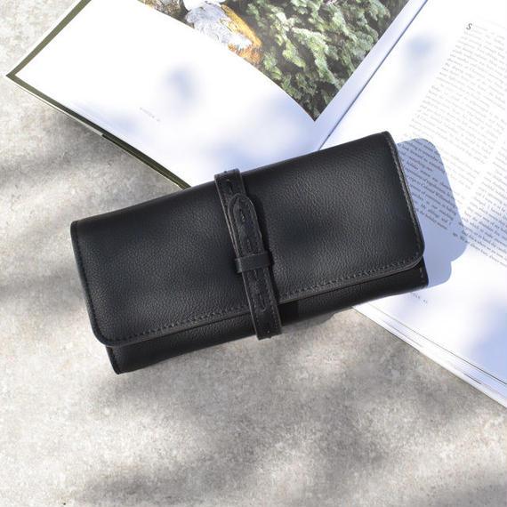 wallet-02061 ステッチベルト 長財布 小銭入れ付き ウォレット ブラック