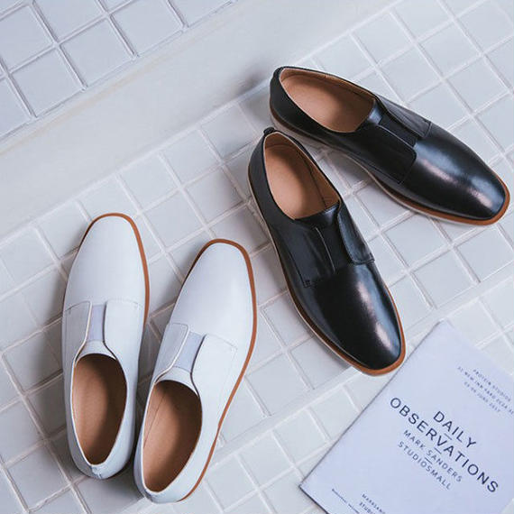 shoes-02005  本革 紐なしオックスフォードシューズ