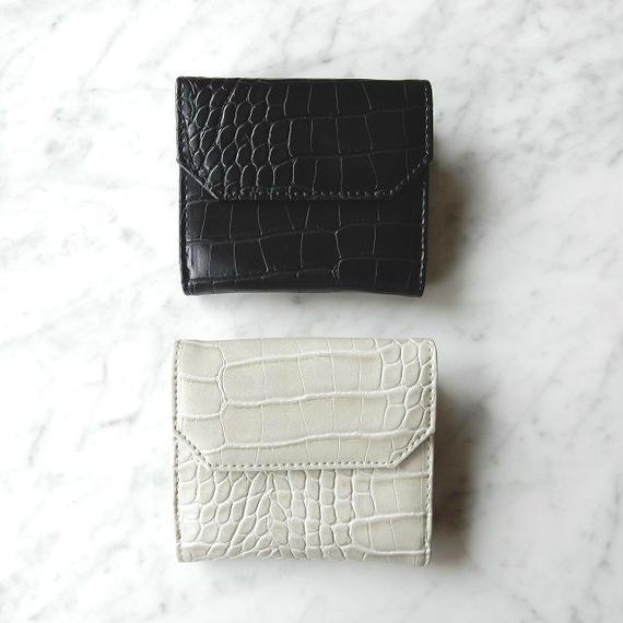 wallet-02010 クロコ型押し ミニ財布 小銭入れ付き 二つ折り ミニウォレット