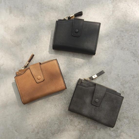 wallet-02055 フェイクレザー シンプル 財布 小銭入れ付き ウォレット