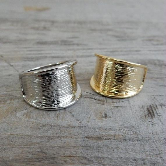 ring-02127 送料無料! フォールドラインリング 13号 シルバー・ゴールド サイズ調整不可