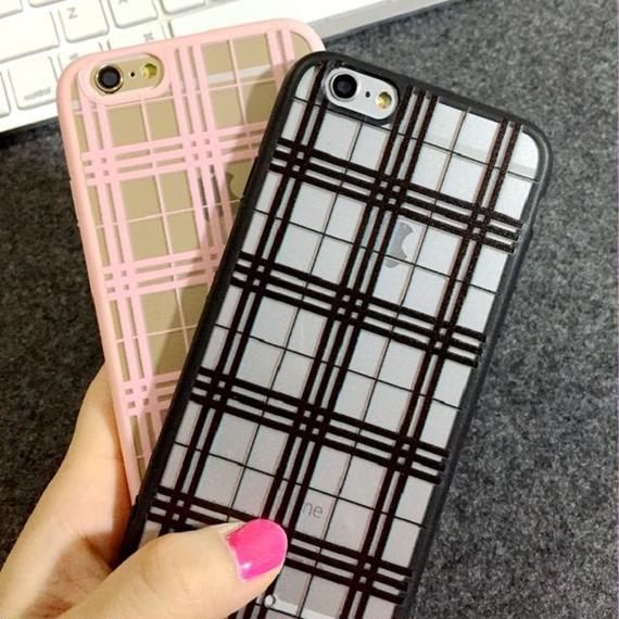 iphone-02023  送料無料! タータンチェック柄 ブラック ピンク  iPhoneケース