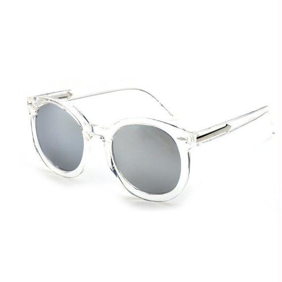sunglasses-02029 クリアフレーム ボストン シルバーミラーサングラス