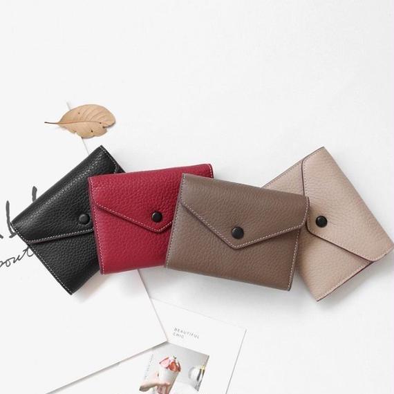wallet-02045 本革レザー使用 三つ折りデザイン ミニ財布 小銭入れ付き  ミニウォレット