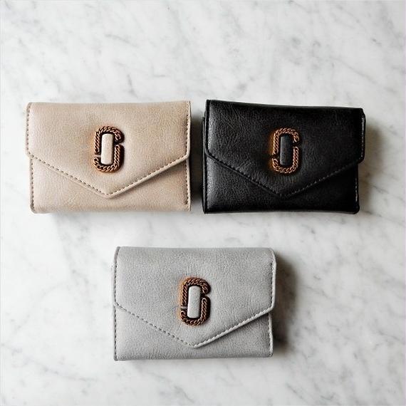 wallet-02034 アンティークゴールドチェーン型留め具デザイン ミニ財布 小銭入れ付き 三つ折り ミニウォレット