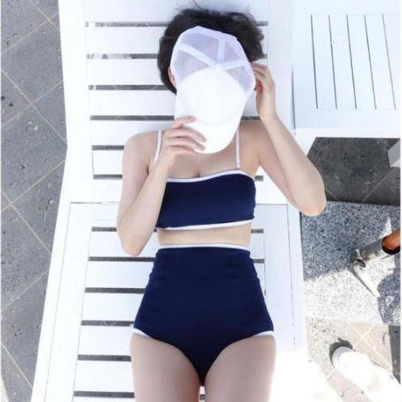 swim-02151 ネイビー バンドゥ ビキニ ホワイトパイピング ハイウエストパンツ 水着 スイムウェア カップ付き レディース