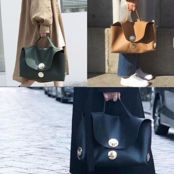 bag2-02225 サークルメタルデザイン ハンドバッグ ブラック キャメル グリーン
