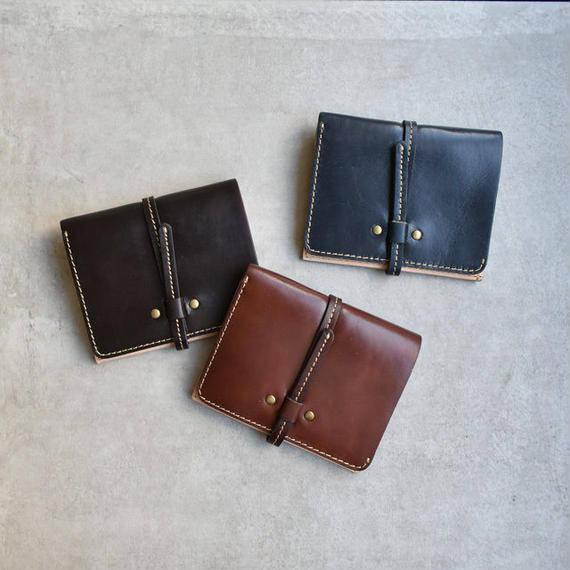 wallet-02066 本革レザー 二つ折り財布 小銭入れ付き