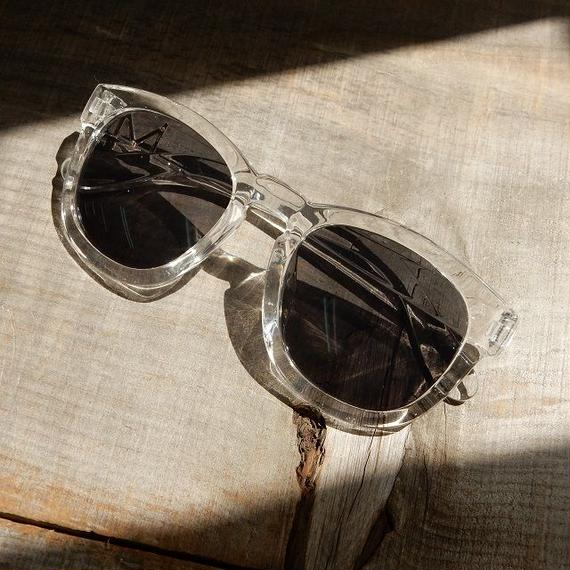 sunglasses-02027 クリアフレーム ウェリントン ブラックレンズサングラス
