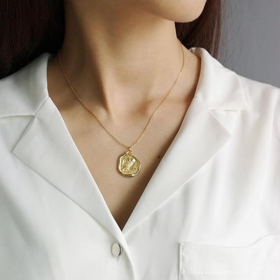 necklace2-02007 送料無料! SV925 ベンドゴールドコインネックレス