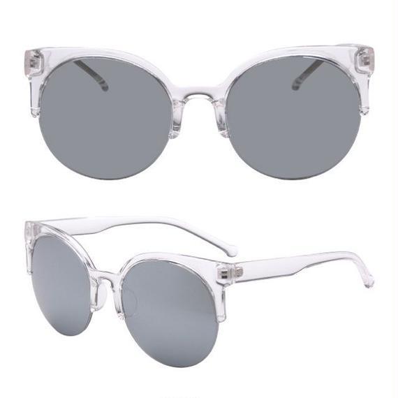 sunglasses-02030 クリアフレーム キャットアイ風 シルバーミラーサングラス