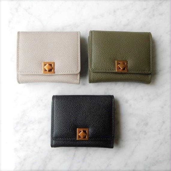 wallet-02048 ヒネリ金具留め ミニ財布 小銭入れ付き 三つ折り ミニウォレット