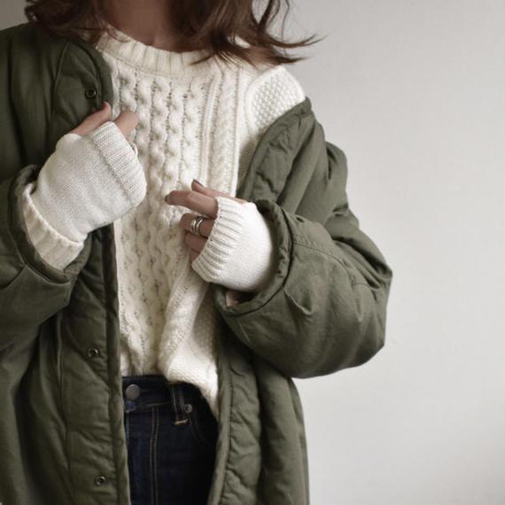 gloves-02004 送料無料! リブ切り替えアームウォーマー オフホワイト カーキベージュ ブラウン ライトグレー チャコールグレー ブラック