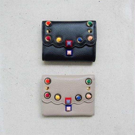 wallet-02046 本革レザー使用 カラースタッズデザイン ミニ財布 小銭入れ付き ミニウォレット