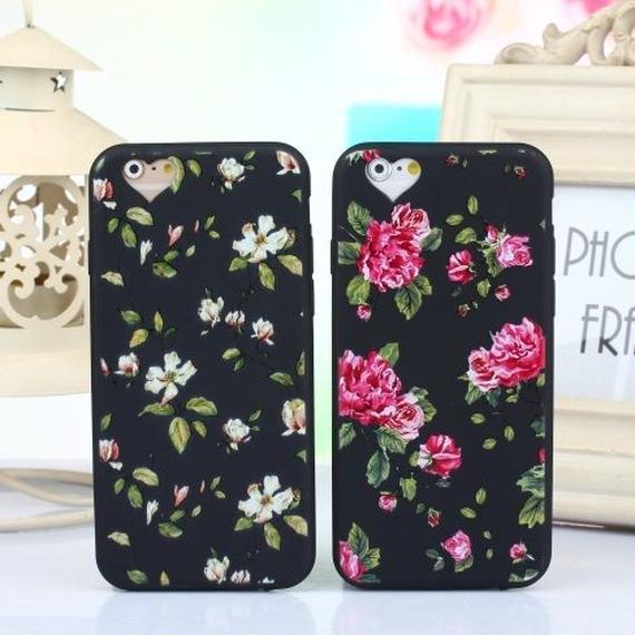 iphone-02018 送料無料! 花柄 ハート型 カメラ穴 iPhoneケース