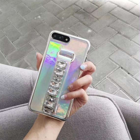 iphone-02353 送料無料! ホログラム ビジューベルト付き iPhoneケース