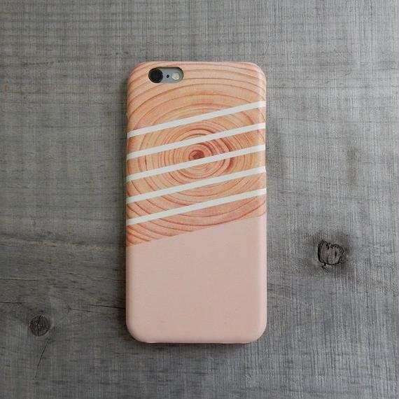 iphone-02179 送料無料! ウッド ホワイトライン ピンク iPhoneケース iPhone6ケース