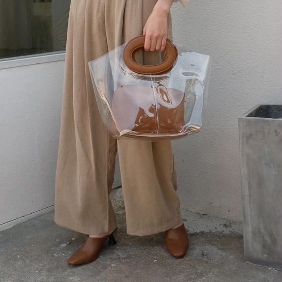 bag2-02330 楕円ハンドル PVC素材 クリアバッグ ポーチ付き