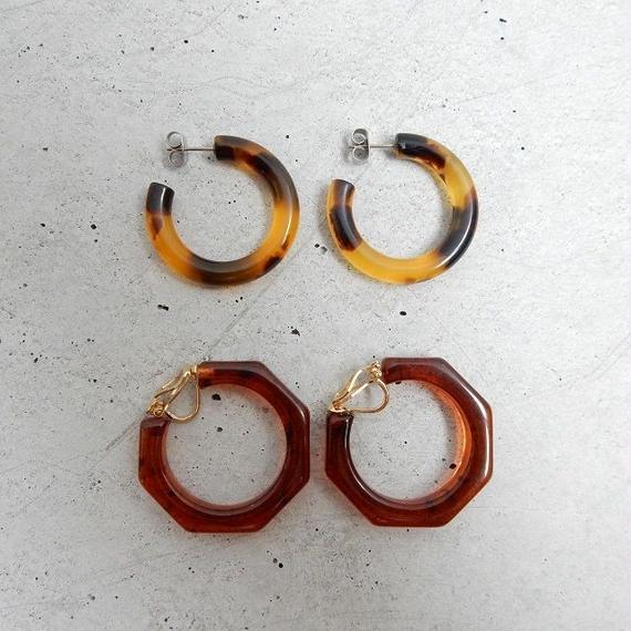pierce-02247 送料無料! べっこう調フープピアス イヤリング チタンピン 30mm