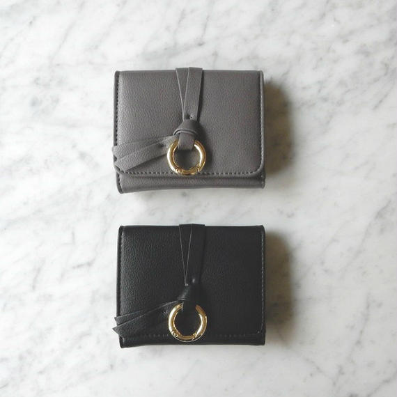 wallet-02012 リングデザイン ミニ財布 小銭入れ付き 三つ折り ミニウォレット