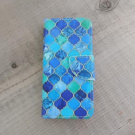 iphone-02203 送料無料! 手帳型 モロッカン柄 モザイクタイル モロッコタイル ブルー カード収納付き iPhoneケース