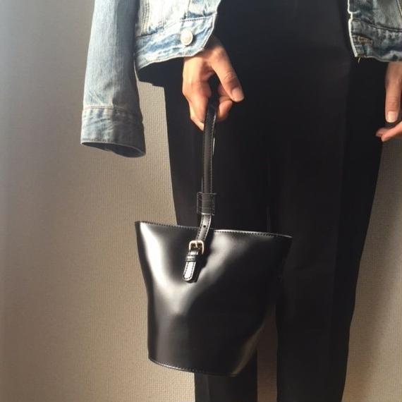 bag2-02059 ワンハンドル ブラックフェイクレザーバッグ