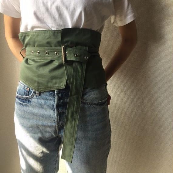 belt-02023 送料無料! ミリタリーウエストベルト カーキ ブラック コルセットベルト
