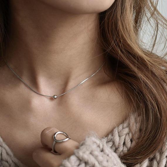 necklace2-02019 送料無料! SV925 シルバーボールトップ ネックレス  チョーカー