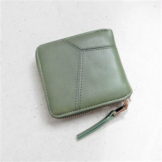 wallet-02041 カーキ カード入れ 札入れ ファスナー二つ折りデザイン ミニ財布 ミニウォレット
