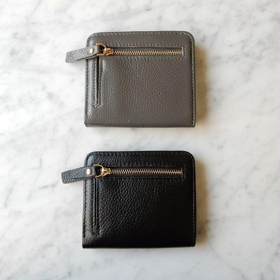 wallet-02039 本革レザー使用 極薄二つ折りデザイン ミニ財布 小銭入れ付き  ミニウォレット