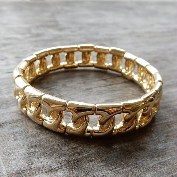 brace-02223 送料無料!ゴールド 1,2cm チェーンビーズ ブレスレット
