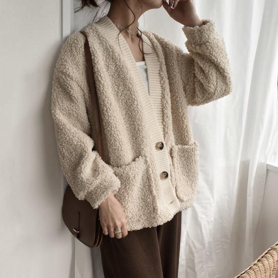 knit-02010 ボアカーディガン ベージュ ブラウン