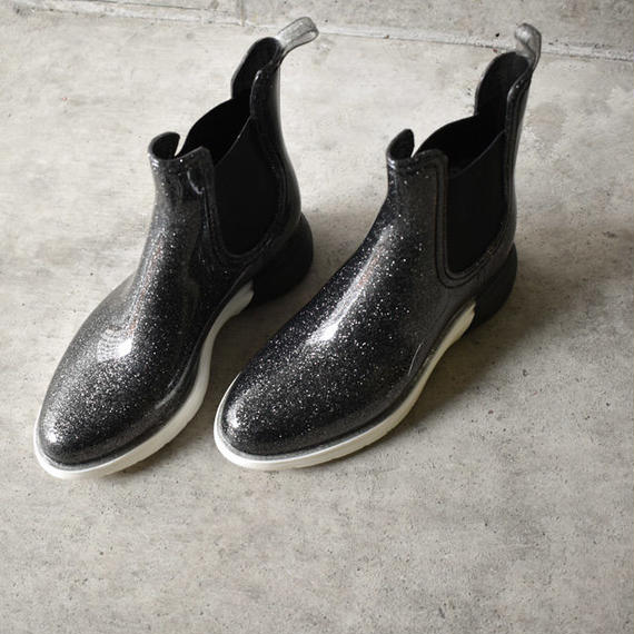 rainshoes-02004 ラメ入りサイドゴア レインブーツ レインシューズ ブラック